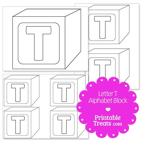 printable letter t alphabet block template