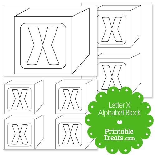 printable letter x alphabet block template
