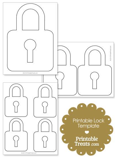 Printable Lock Shape Template from PrintableTreats.com