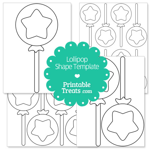 printable lollipop with star shape template