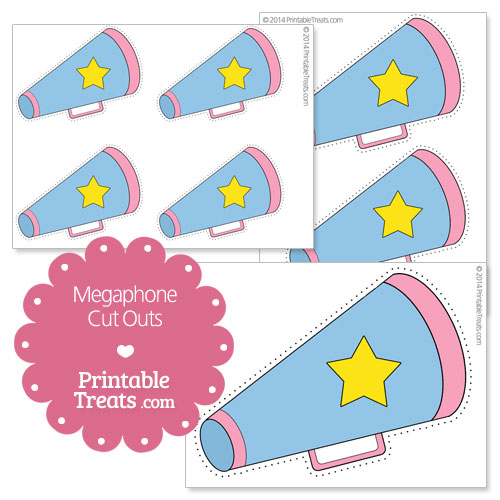 printable megaphone with star cut outs