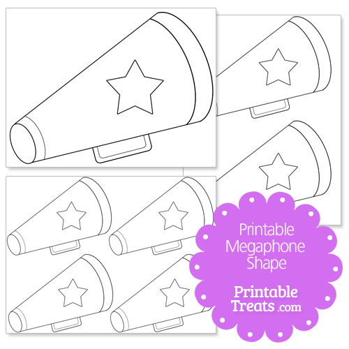printable megaphone with star shape