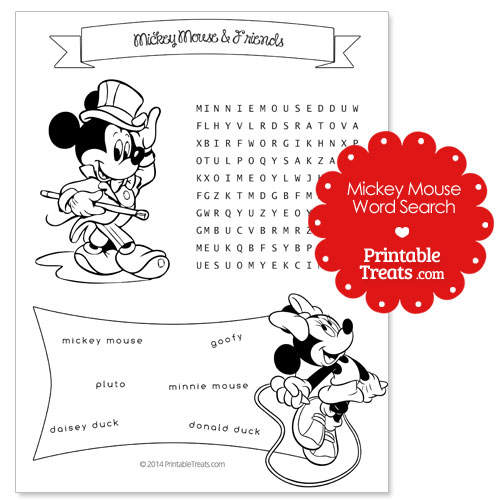 printable Mickey Mouse word search