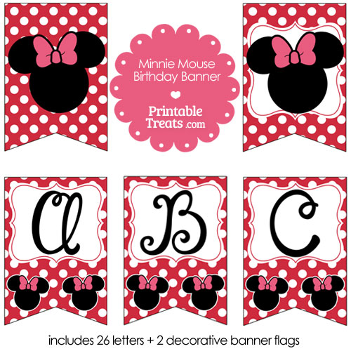 printable Minnie Mouse happy birthday banner