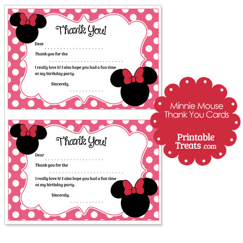 printable Minnie Mouse thank you cards