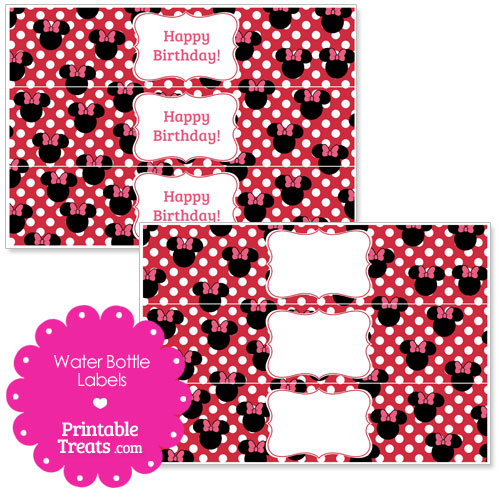 printable Minnie Mouse water bottle labels