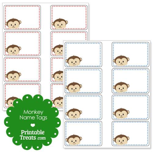 printable monkey name tags