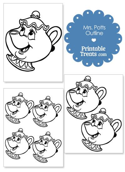 Printable Mrs Potts Outline from PrintableTreats.com