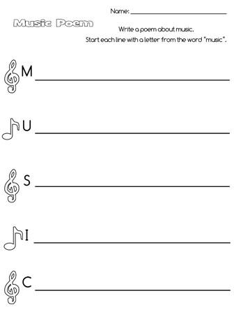 printable music acrostic poem
