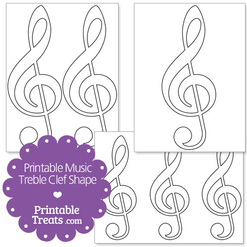 printable music treble clef shape