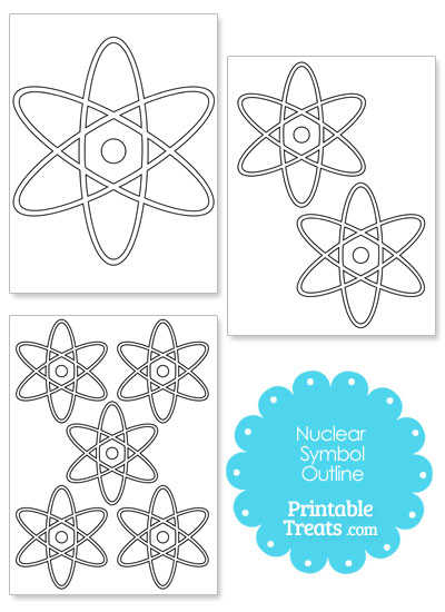 Printable Nuclear Symbol Outline from PrintableTreats.com