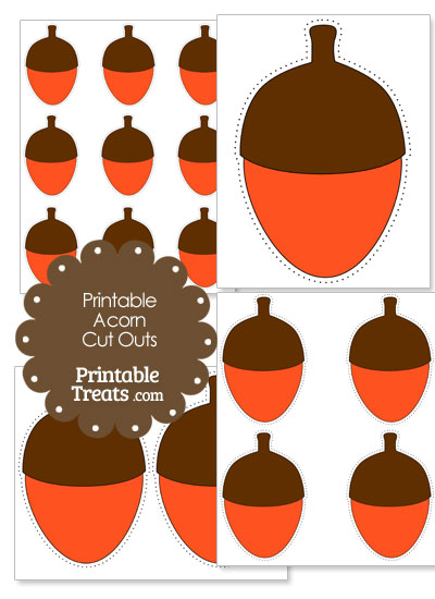 Printable Orange Acorn Cut Outs from PrintableTreats.com
