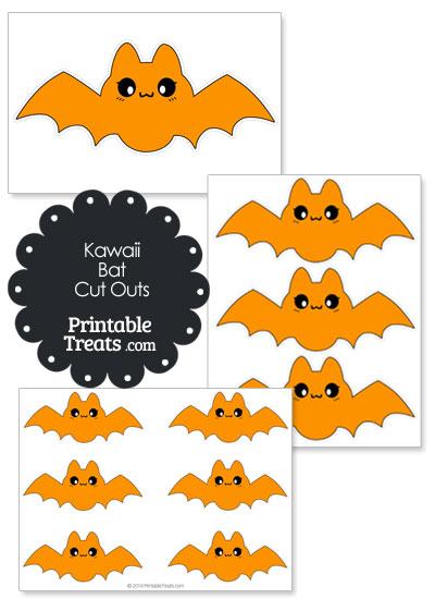Printable Orange Kawaii Bat Cut Outs from PrintableTreats.com
