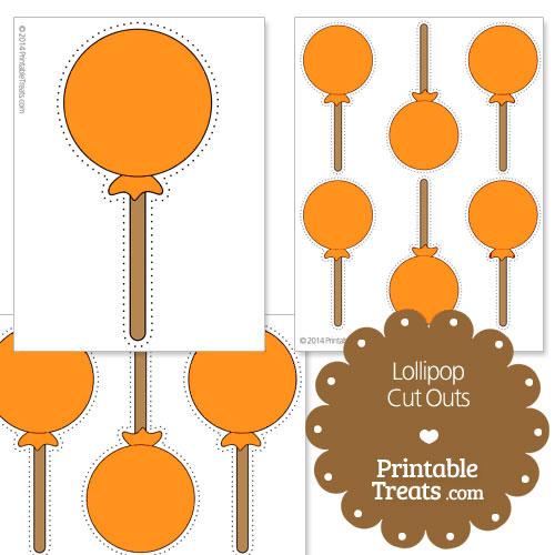 printable orange lollipop cut outs