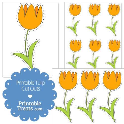 printable orange tulip cut outs