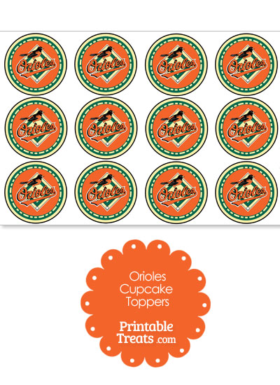 Printable Orioles Logo Cupcake Toppers from PrintableTreats.com