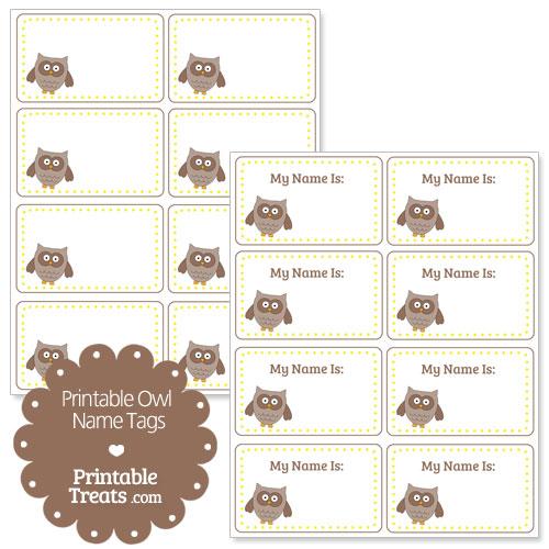 printable owl name tags