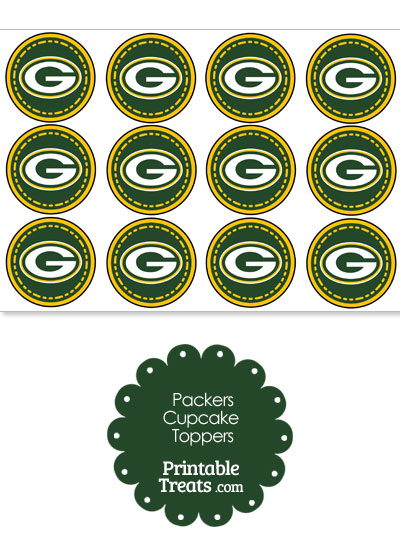 Printable Packers Logo Cupcake Toppers from PrintableTreats.com
