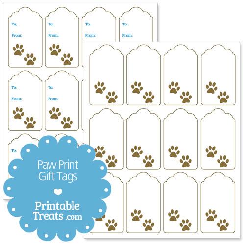 printable paw print gift tags