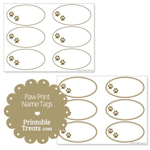 printable paw print name tags