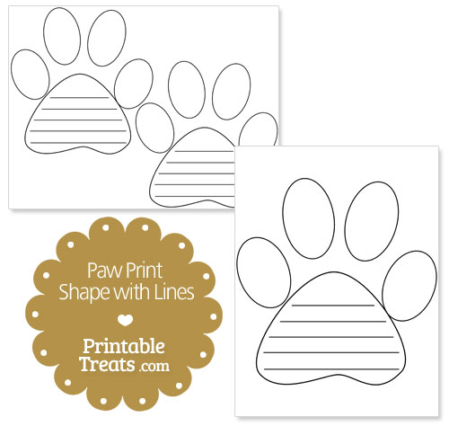 printable paw print shape with lines