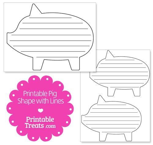 printable pig shape with lines