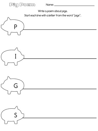 printable pigs acrostic poem