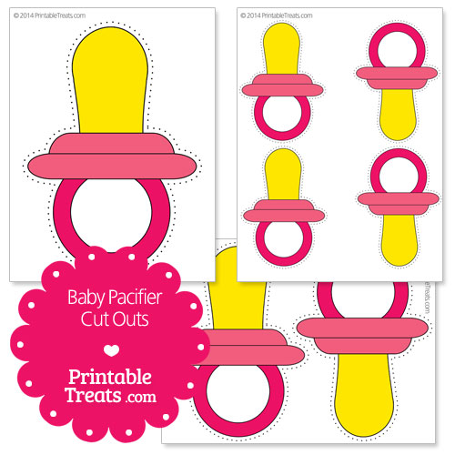 printable pink baby pacifier cut outs