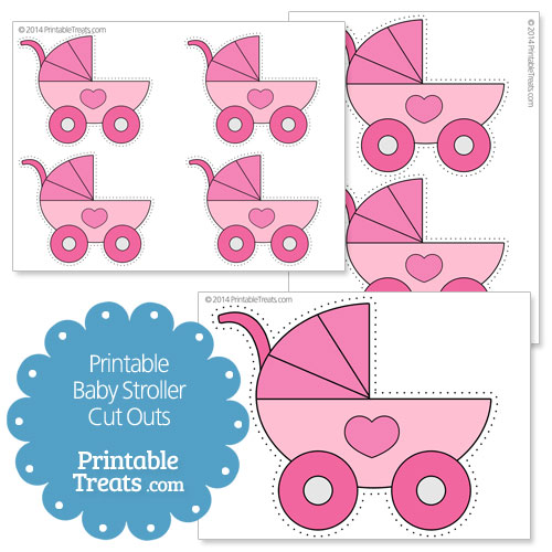 printable pink baby stroller cut outs
