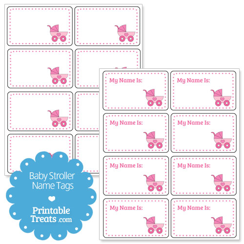 printable pink baby stroller name tags