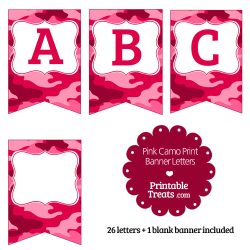printable pink camo banner letters a-m