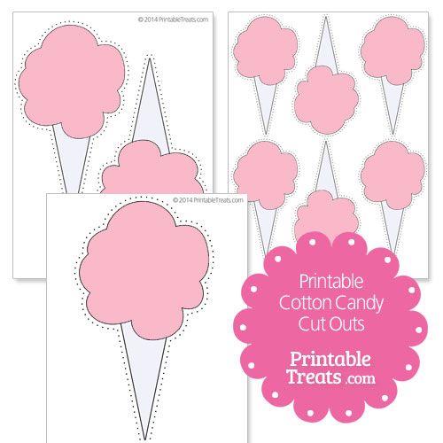 printable pink cotton candy cut outs