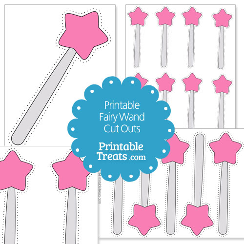 printable pink fairy wand cut outs