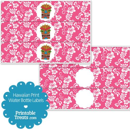 printable pink Hawaiian print water bottle labels