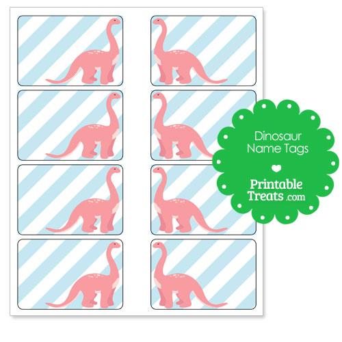 printable pink Long Neck dino name tags