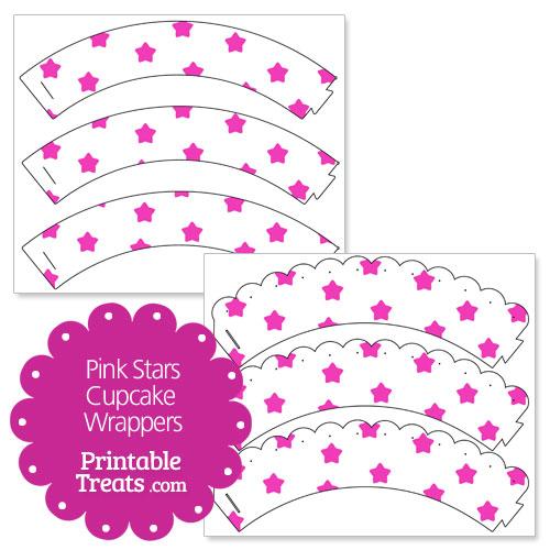 printable pink stars cupcake wrappers