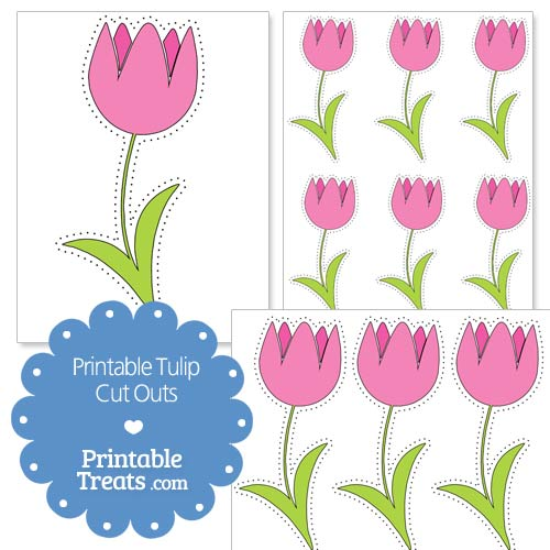 printable pink tulip cut outs