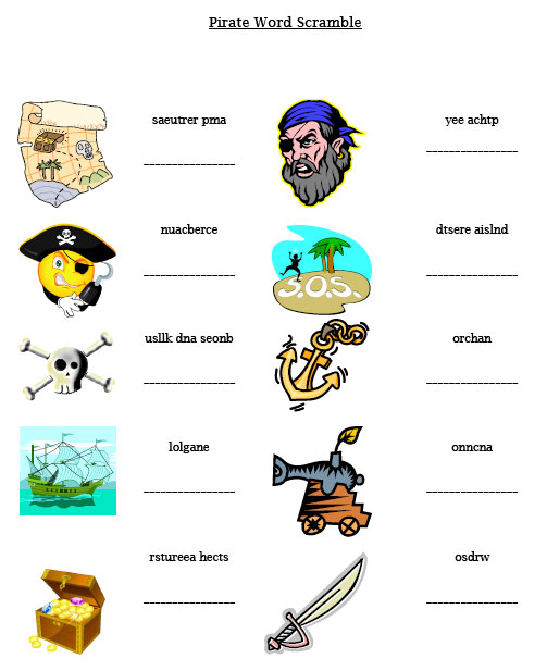 printable pirate word scramble
