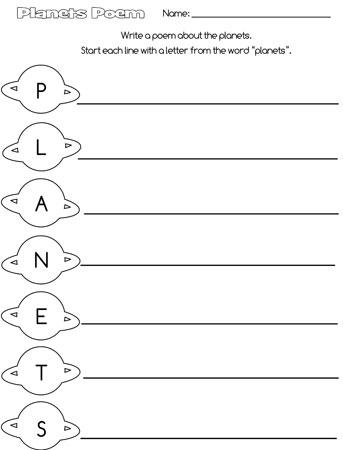 printable planets acrostic poem