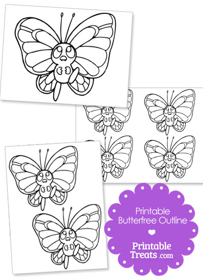 Printable Pokemon Butterfree Outline from PrintableTreats.com