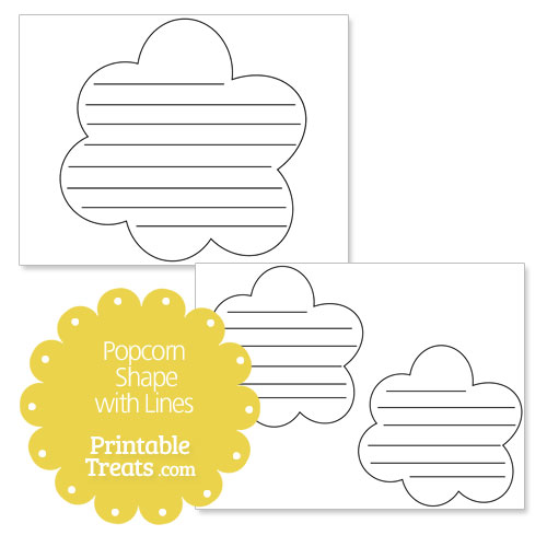 printable popcorn shape with lines