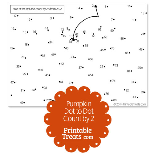 free printable pumpkin dot to dot count by 2
