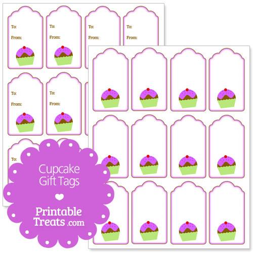 printable purple cupcake gift tags