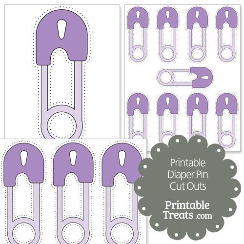 printable purple diaper pin cut outs