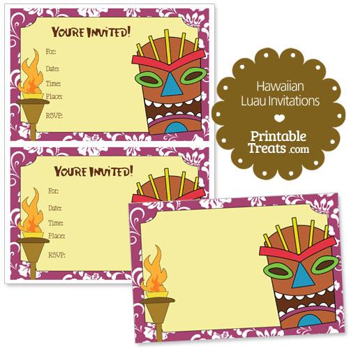 printable purple Hawaiian luau invitations