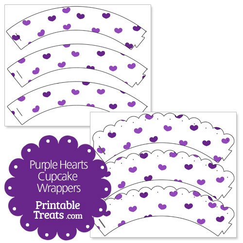 printable purple hearts cupcake wrappers