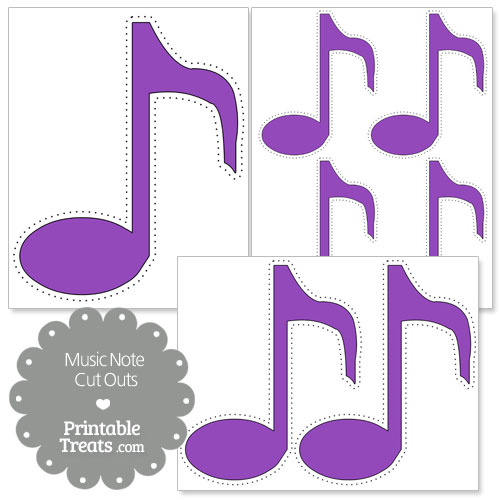 printable purple music note cut outs