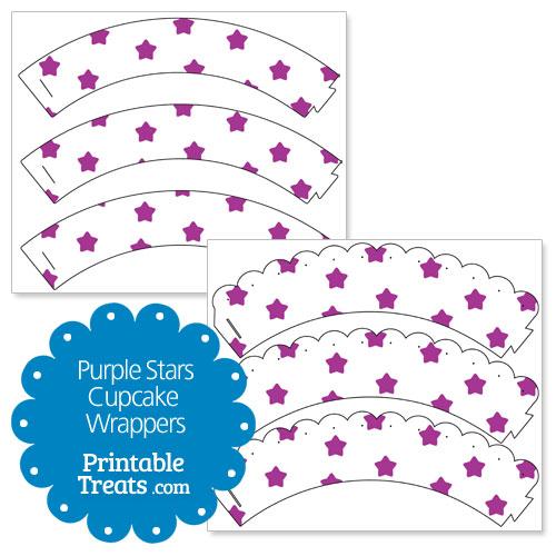 printable purple stars cupcake wrappers