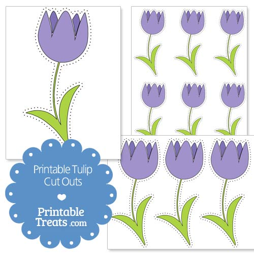 printable purple tulip cut outs