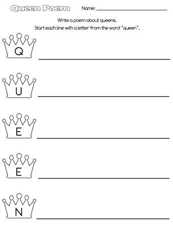 printable queen acrostic poem